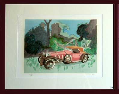 6488E: Mercedes Old Style Framed Lithograph