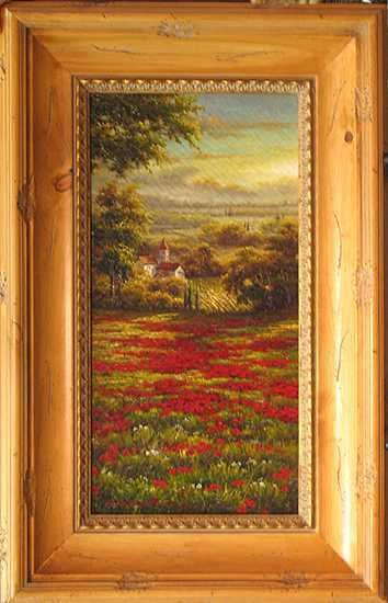 8689E: European Artist Tuscan Red Poppies Framed Origin