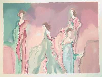 1269: Bazinet Large Watercolor Maimon Style Art