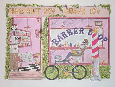 1644: Barber Shop Watercolor Style Naïve Whimsical