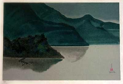 1974: Asian Scenic Lithograph on Japon Paper
