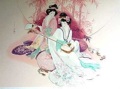 1088: Ayers Asian Style LARGE Serigraph Rare Find