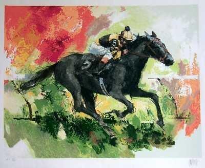 1291: Horse Race Neiman Style Ltd Ed Serigraph on Paper