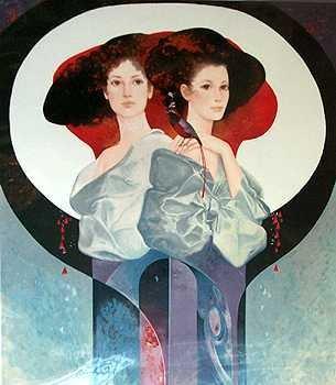 1317: Large RARE Felix Mas Sisters Artist Proof Ltd Ed