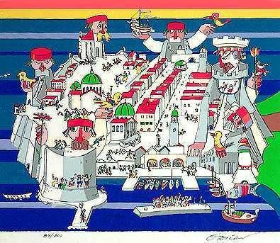1511: Dubrovnik City Scene Obican Whimsy Ltd Ed Sale