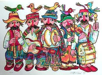 1518: Obican Musicians LARGE Ltd Ed Hand Signed Sale