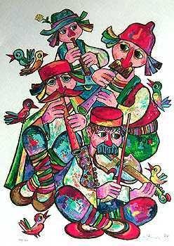 1519: Obican Musicians LARGE Ltd Ed Hand Signed Sale