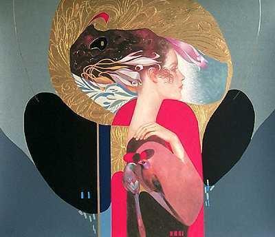 1000D: Felix Mas Red Black Lady Ltd Ed Hand Signed Art