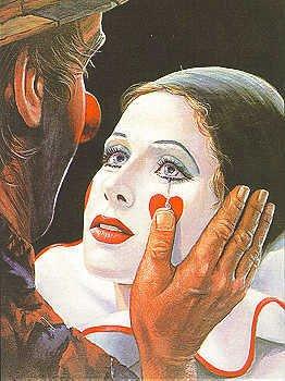 1537D: Leighton Jones CANVAS Clown with Tear Signed Ltd