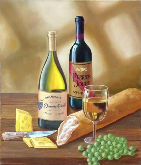 2000E: Wine Tasting Art Canvas Oil Painting Artist Sale