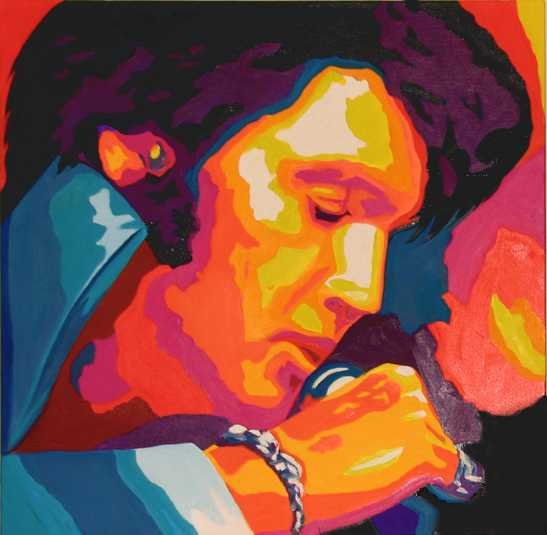 2001E: Elvis Presley Oil Painting POP Colorful Canvas S