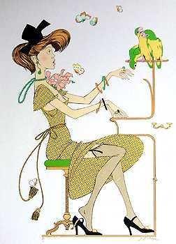 1368E: Noyer RARE Birds in Yellow Dress Ltd Ed Hand Sig