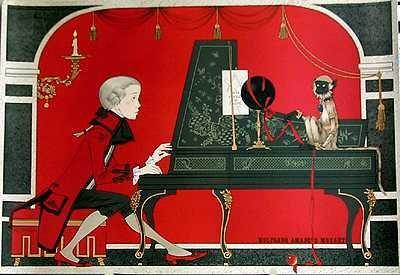 1378E: Mozart Piano Whimsical Noyer Ltd Ed Rare Estate