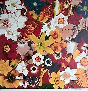 1437E: Colorful Nesbitt Floral Ltd Ed RARE Estate Liqui