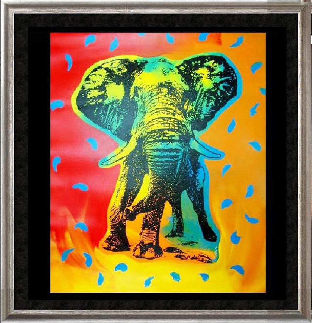 POP ART CANVAS ORIGINAL ELEPHANT COLORFUL ESTATE SALE
