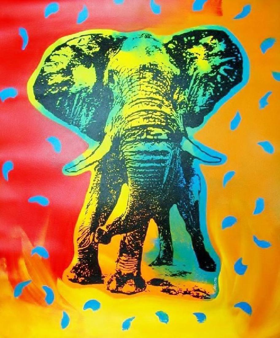 POP ART CANVAS ORIGINAL ELEPHANT COLORFUL ESTATE SALE - 2