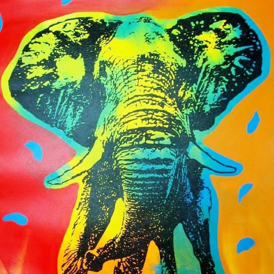 POP ART CANVAS ORIGINAL ELEPHANT COLORFUL ESTATE SALE - 3