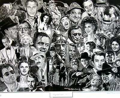 10500: Hollywood Stars Black White Lithograph Signed Ar