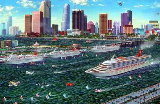 4120B: Miami Cruise Water Scene Only $100 Huge Sale