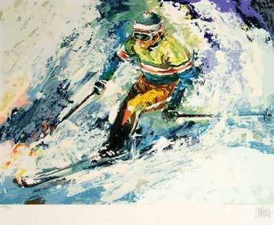 810C: Neiman Style Wayland Moore Skiing Signed Ltd Ed
