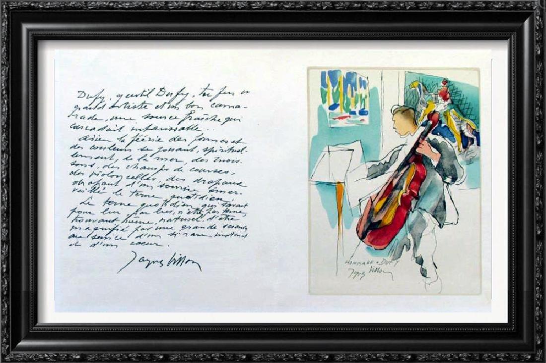 Jacques Villon Homage Dufy Plate Signed Litho