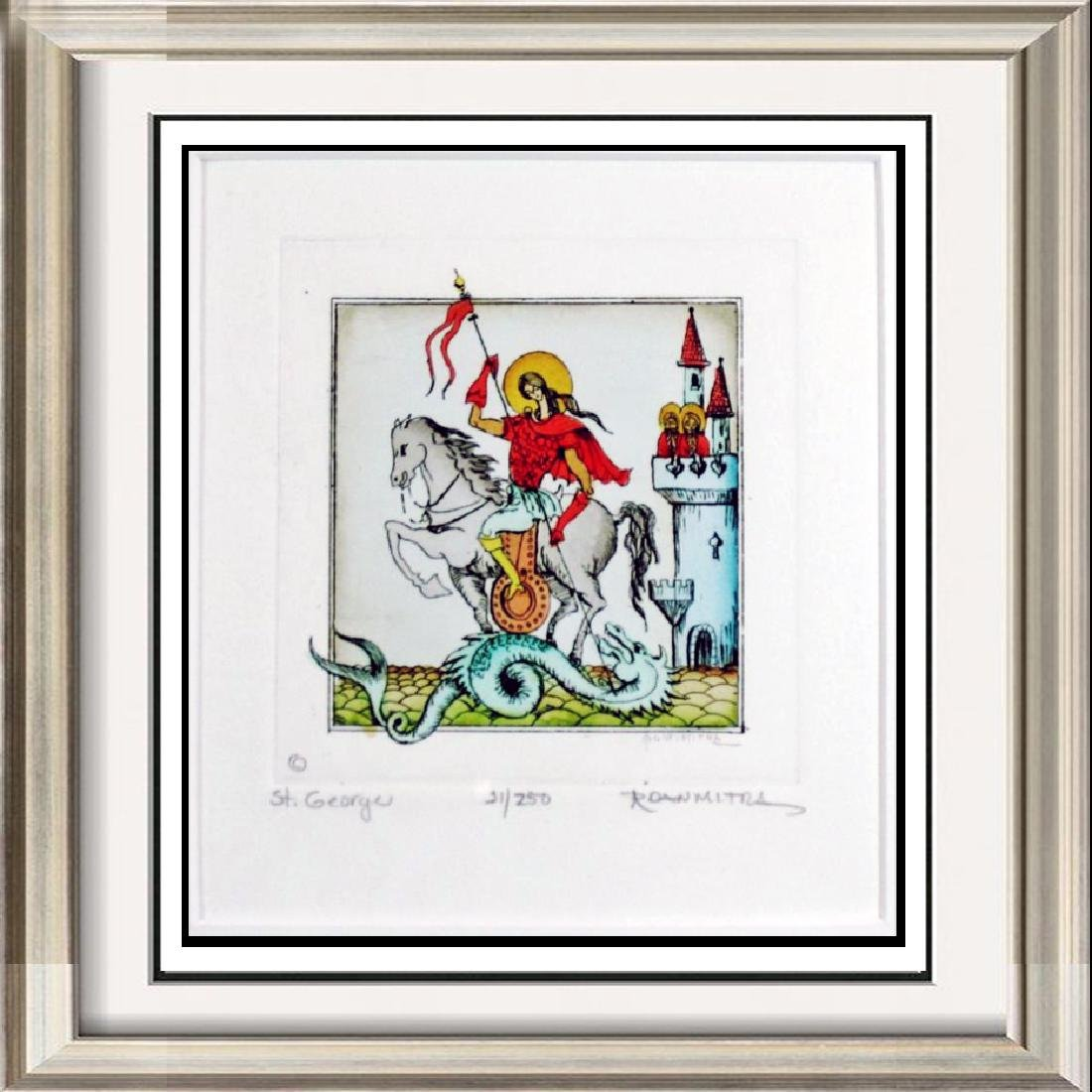 Beautiful Hand Colored Etching St George Signed Art