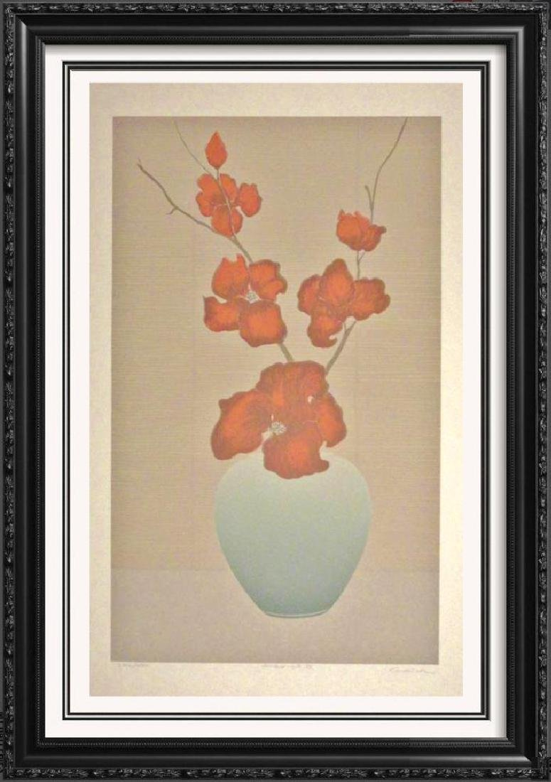 Floral Signed Litho Traditional Colorful Art