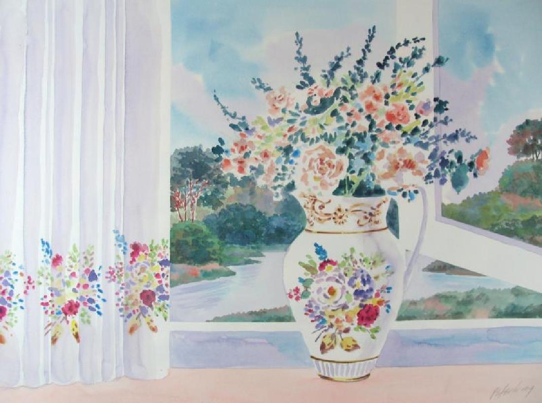Original Watercolor Realism Traditional Vase in Window