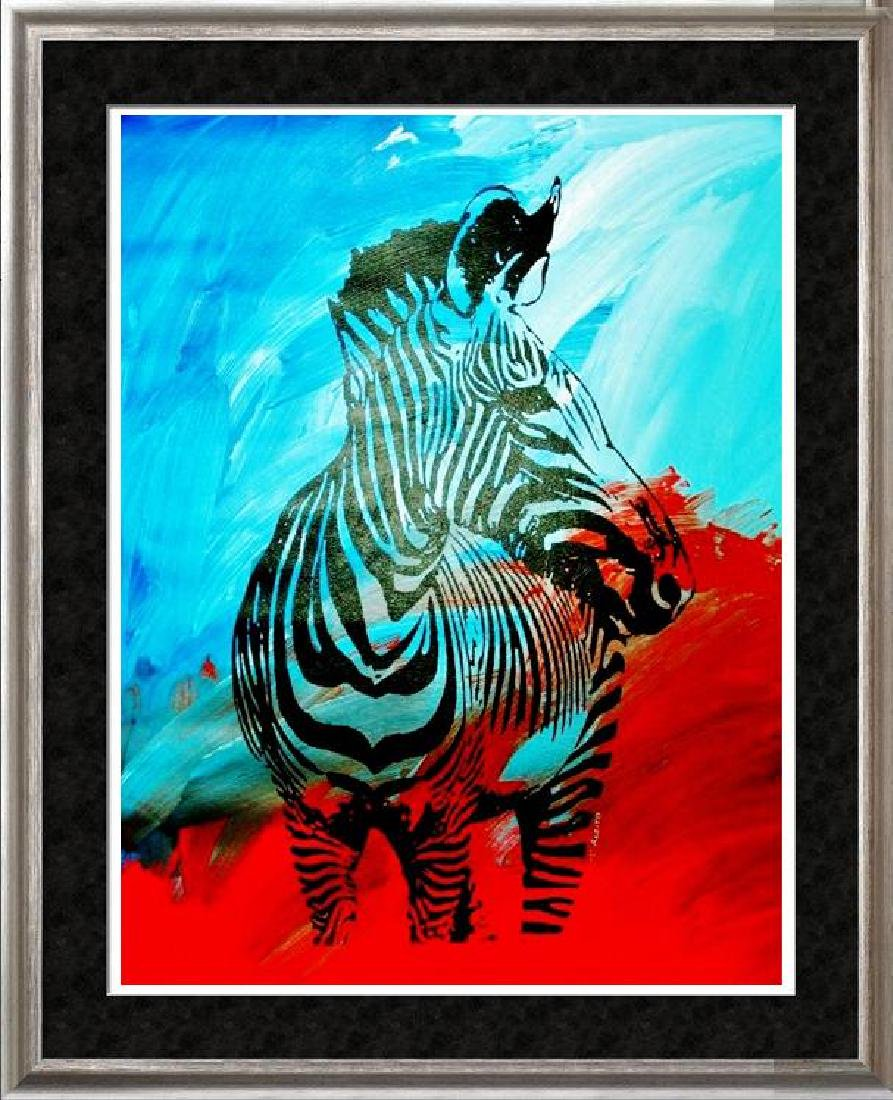 COLORFUL POP ART CANVAS ORIGINAL ZEBRA ART SALE ONLY
