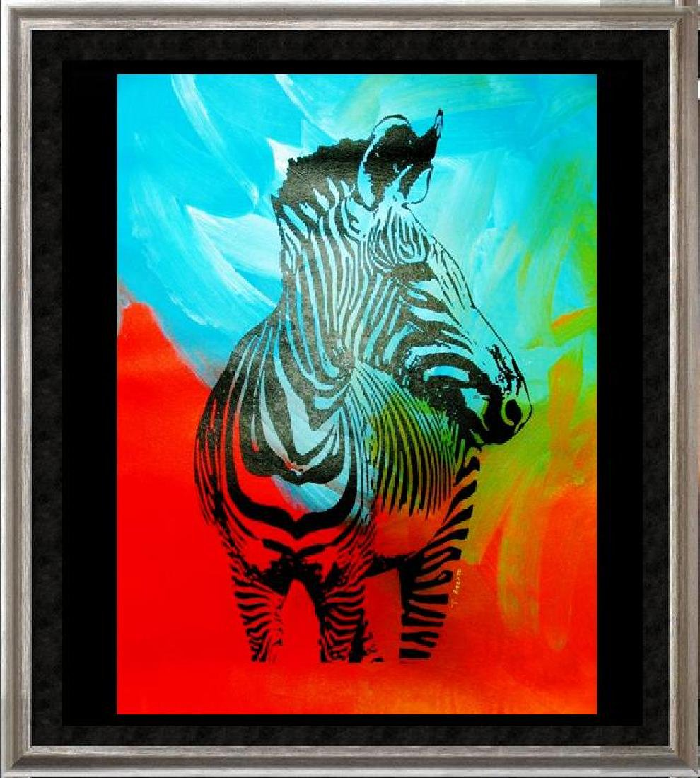 ZEBRA POP ART ORIGINAL CANVAS PAINTING ESTATE
