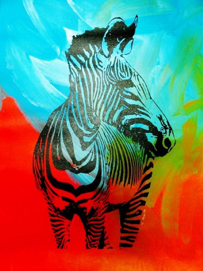 ZEBRA POP ART ORIGINAL CANVAS PAINTING ESTATE - 2