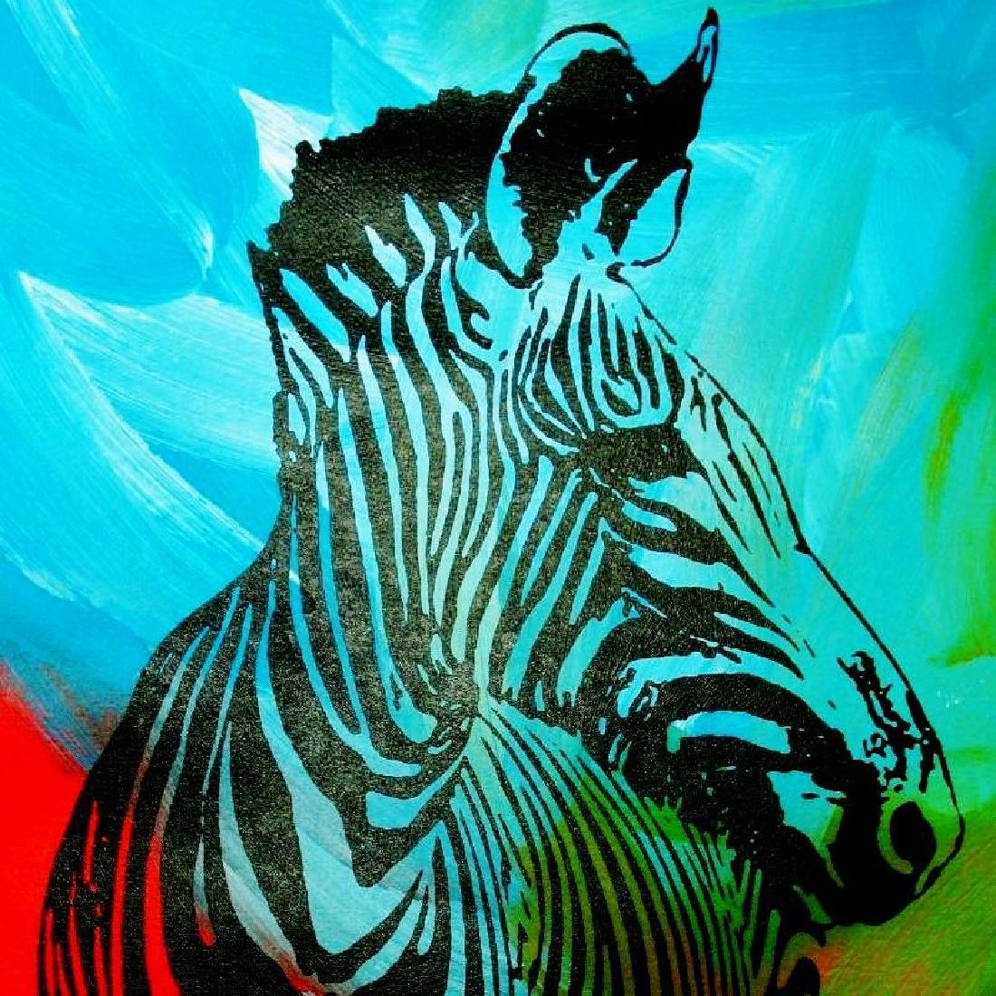 ZEBRA POP ART ORIGINAL CANVAS PAINTING ESTATE - 3