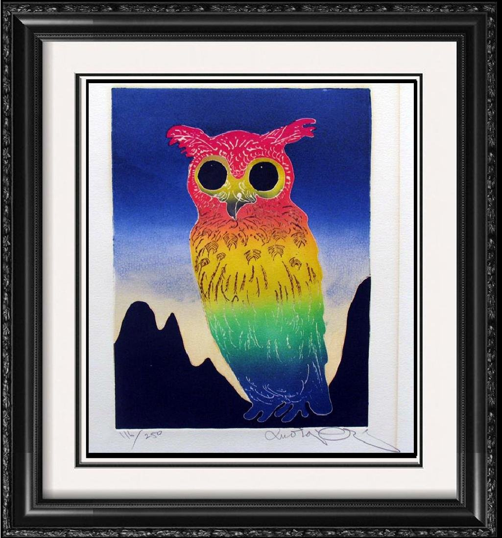 Motoi Great Horned Owl Etching Colored Signed Ltd Ed