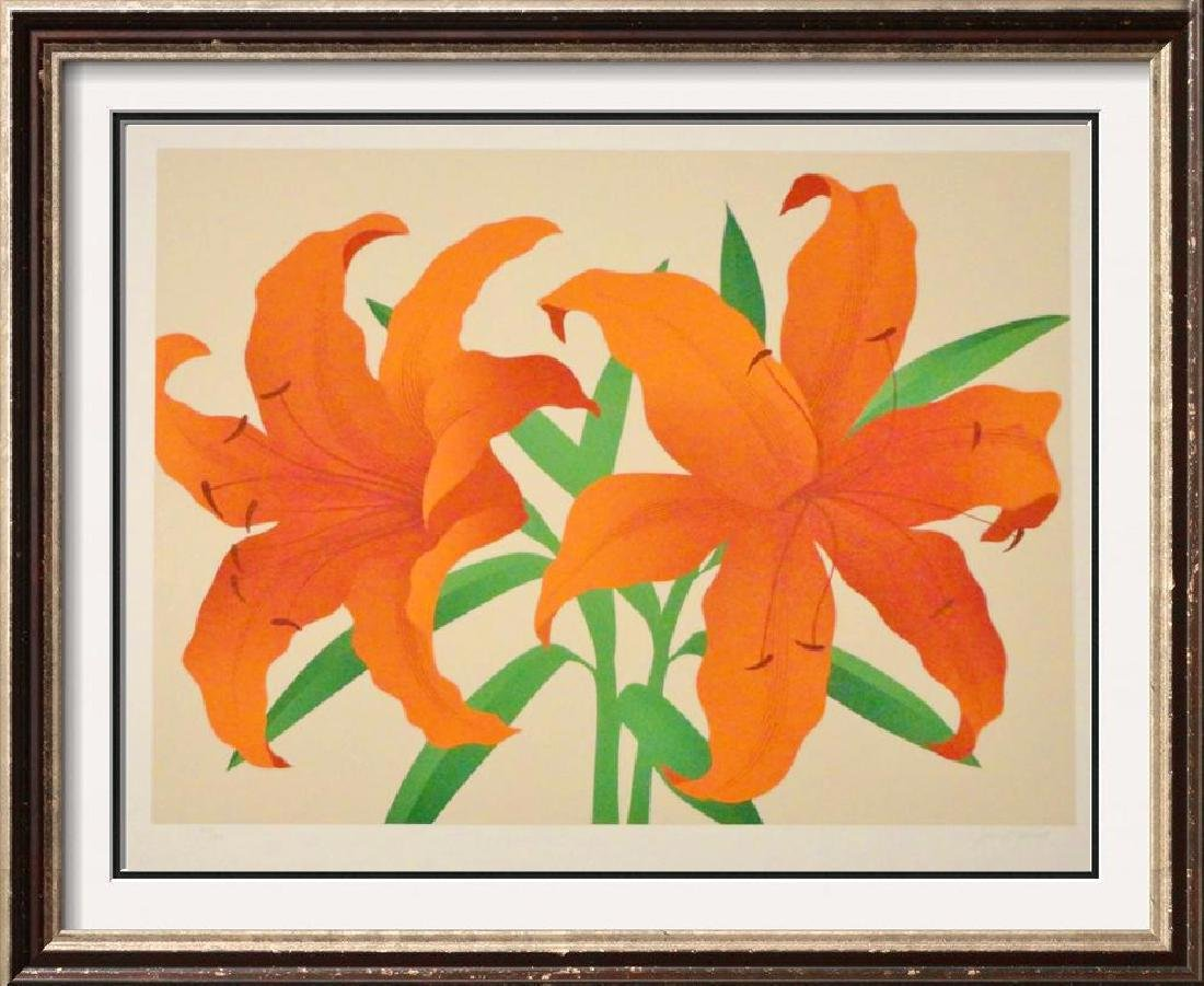 Orange Modern Flowers Signed Litho Art Sale