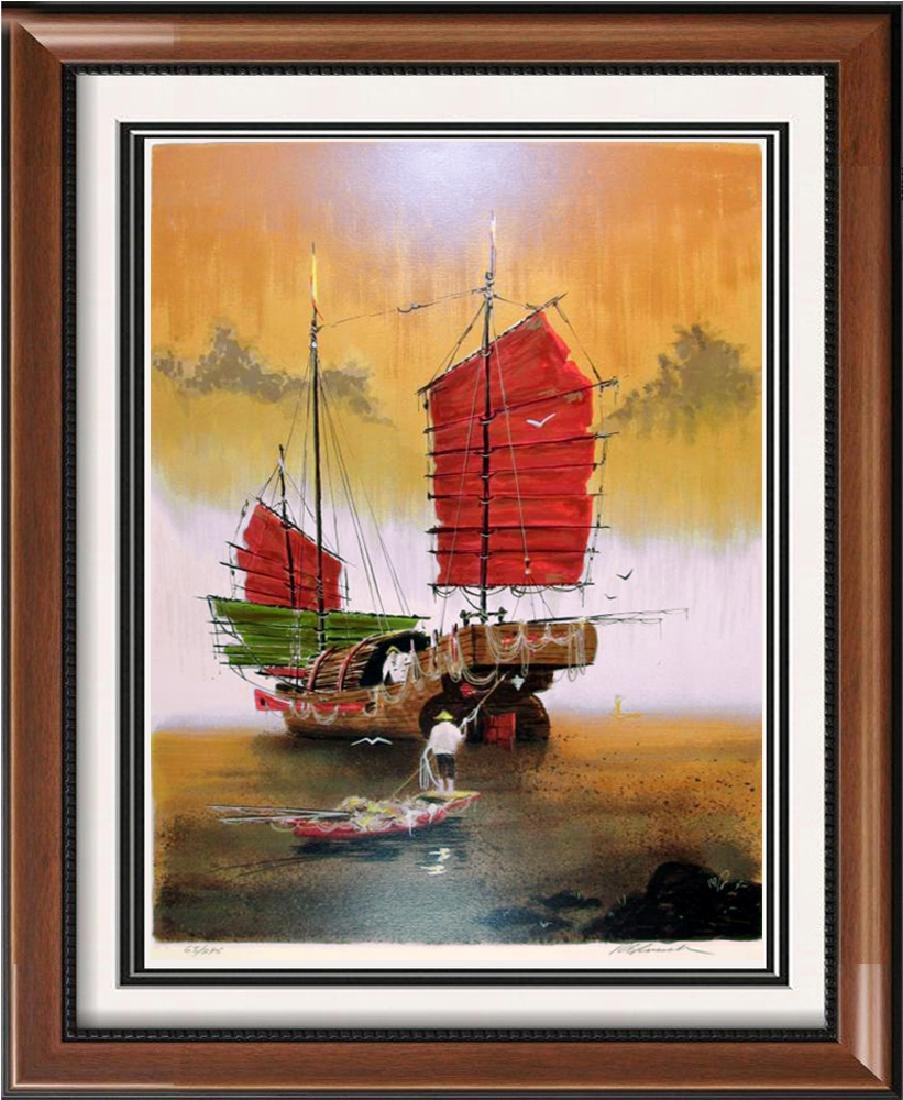 Asian Fishing Harbor Colorful Serigraph Signed Limited