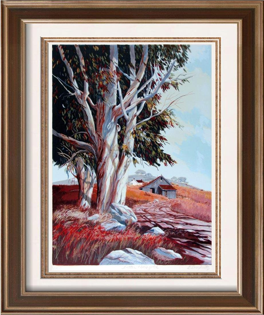 Colorful Beautiful Large Tree with Path Signed Litho