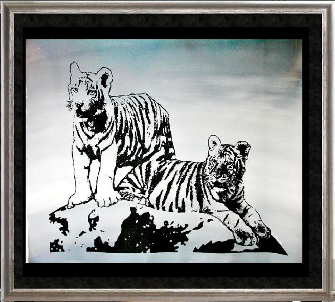 TIGERS BLACK & WHITE ORIGINAL PAINTING LARGE POP ART