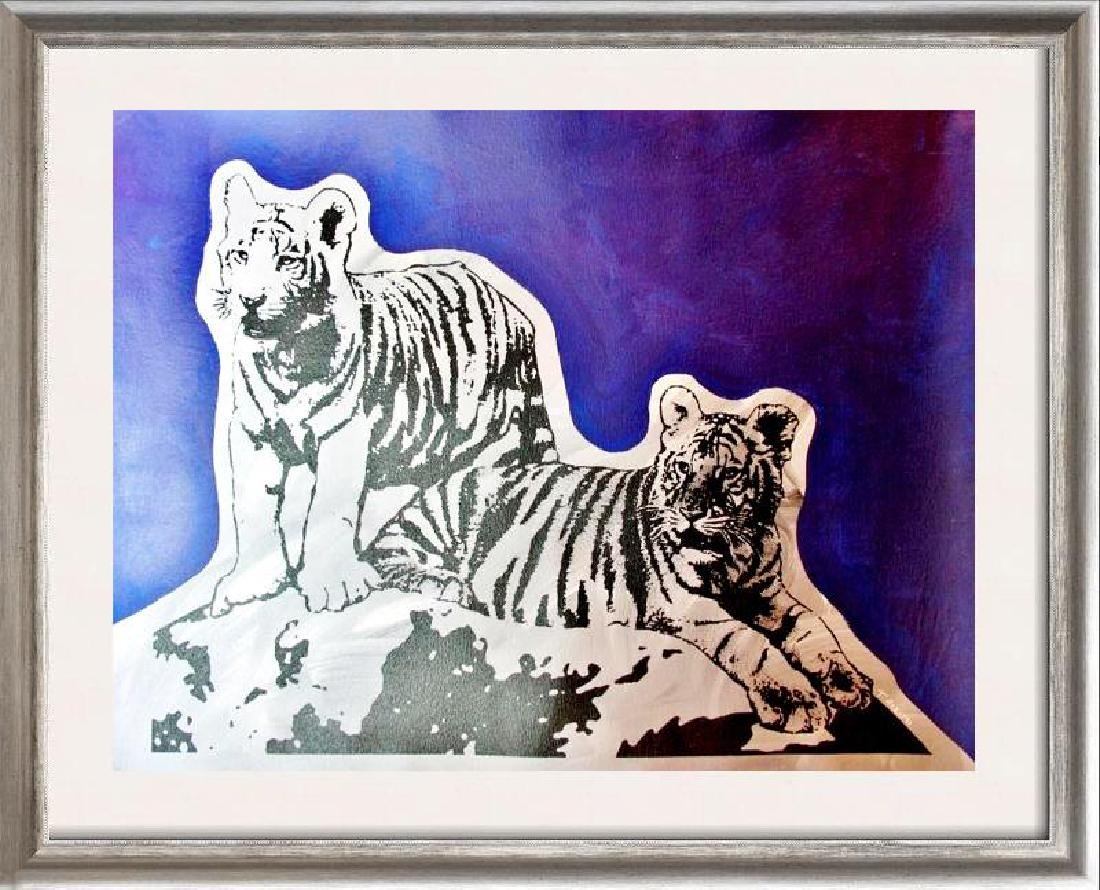 COLORFUL POP ART CANVAS ORIGINAL TIGERS ART SALE ONLY