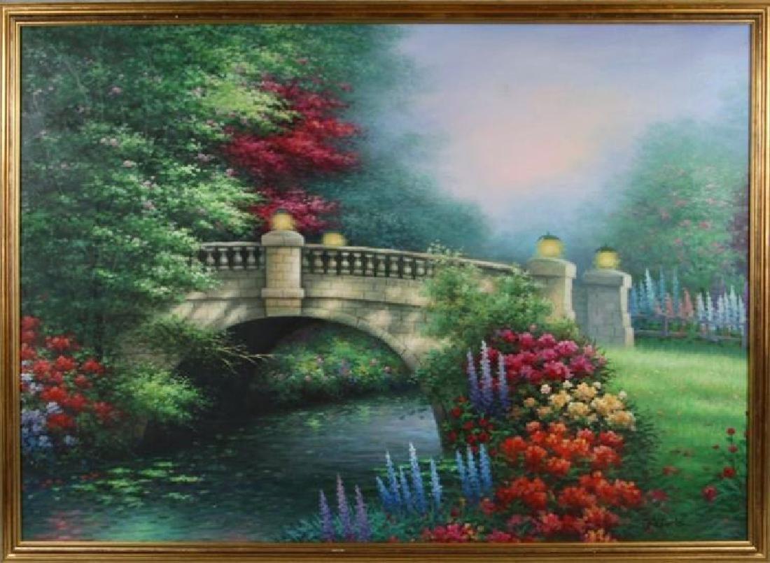 Original Painting Colorful Floral Landscape Framed Huge