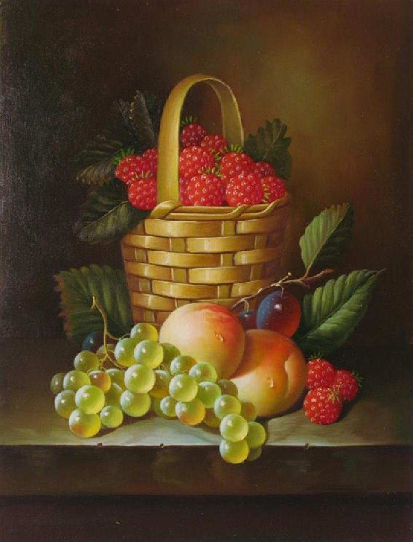 $60 Original Still Life Fruit Basket Signed Painting On