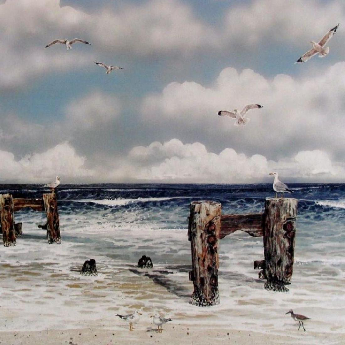 BEACH SCENE BIRDS RARE HARRIS LITHO SALE ONLY $50 - 2