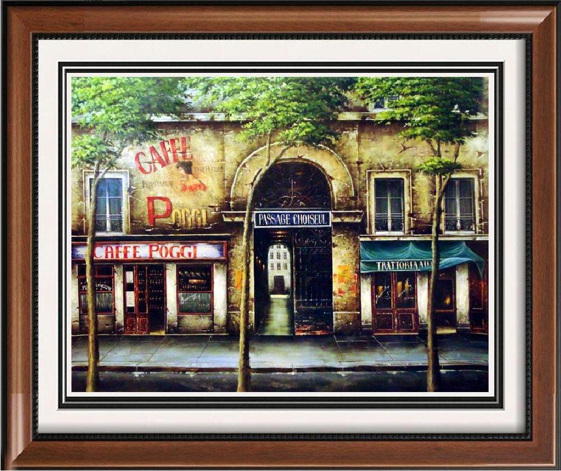 Fantastic Paris Street Scene Signed Painting on Canvas
