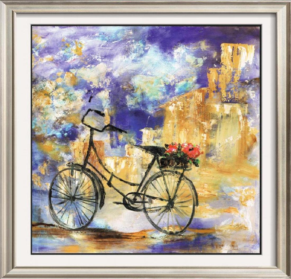 Roses With Bike Colorful Impressionism Giclee Sale