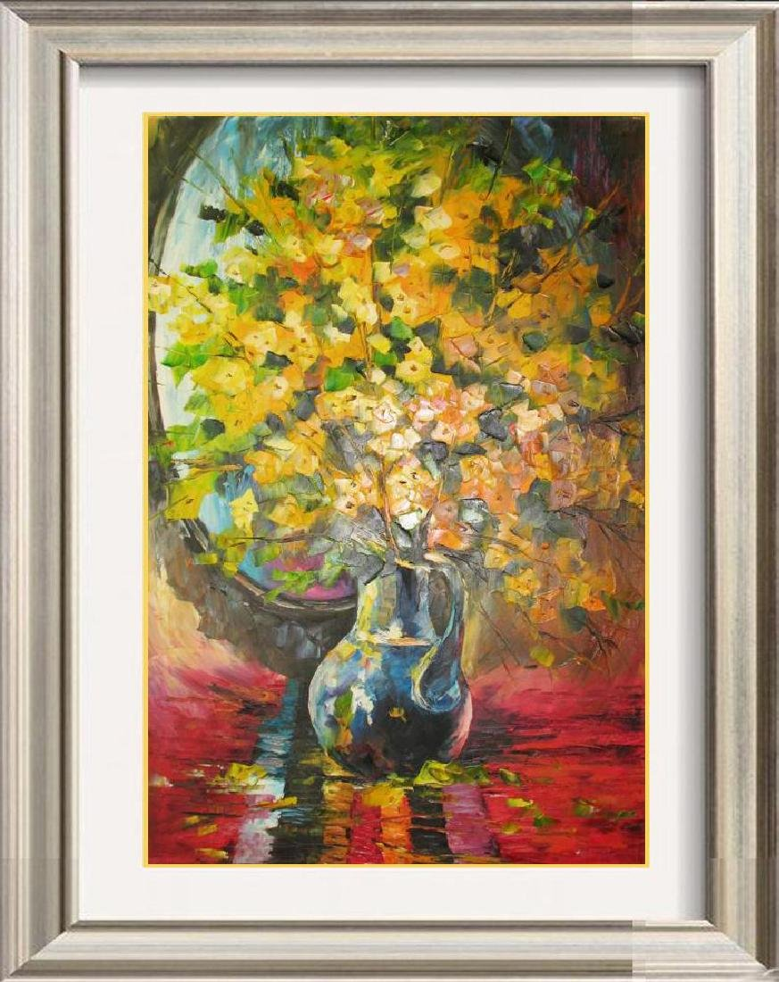 Yellow Bloom Original Canvas Painting Signed