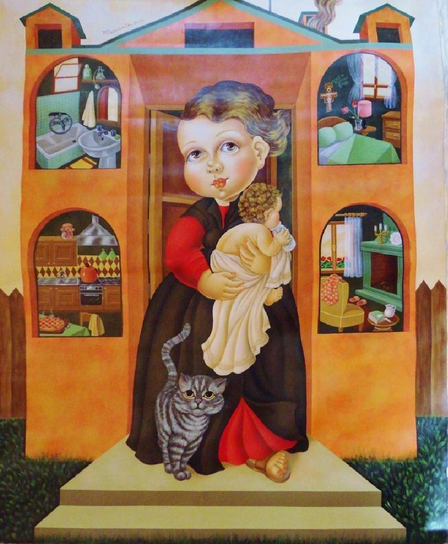 Huge Italian Artist Painting 68x58 Fantastic Pop Canvas