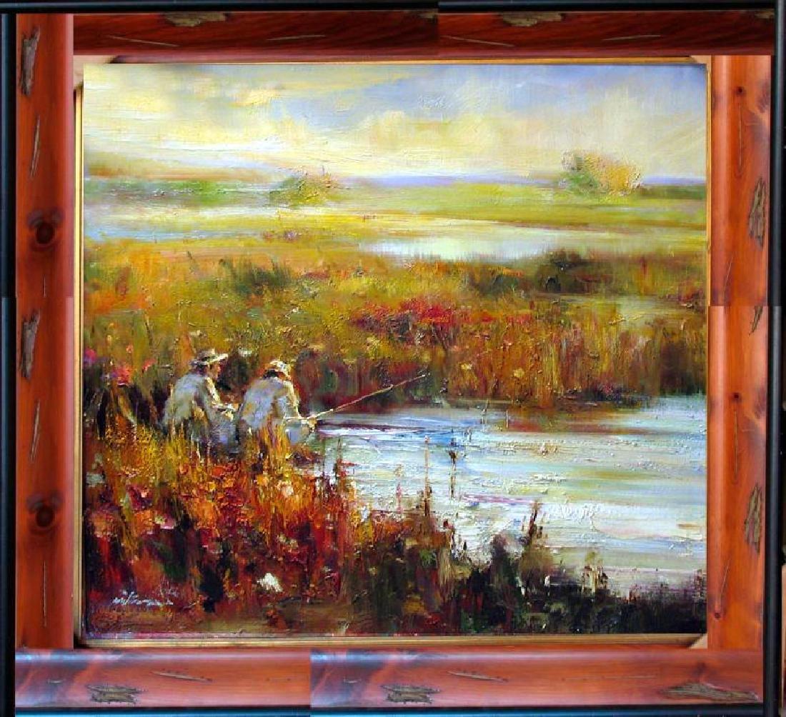 Fishing Acrylic LARGE Frame ORIGINAL Art DEALER
