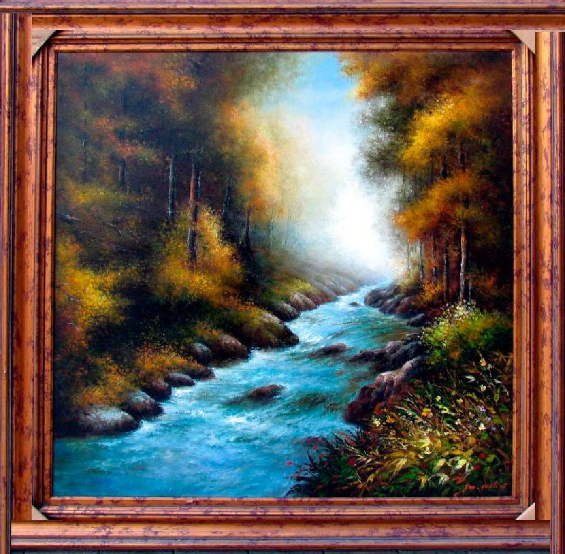 Water scene Trees Colorful Acrylic HUGE ART LIQUIDATION