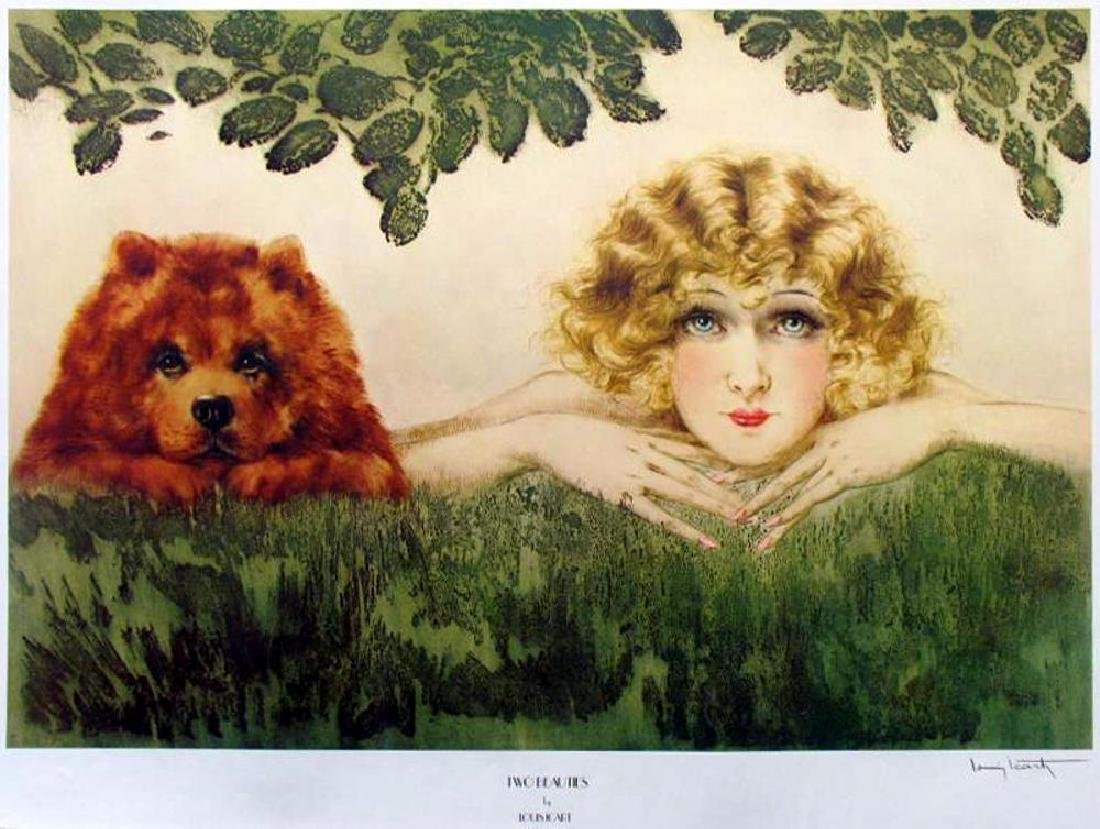 Louis Icart Art Deco Woman With Dog Adorable Print