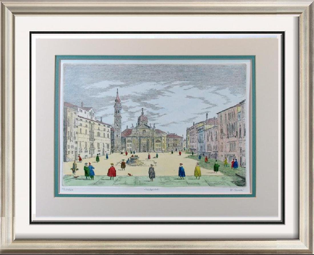 Colored Signed # Etching Original Old World Scene