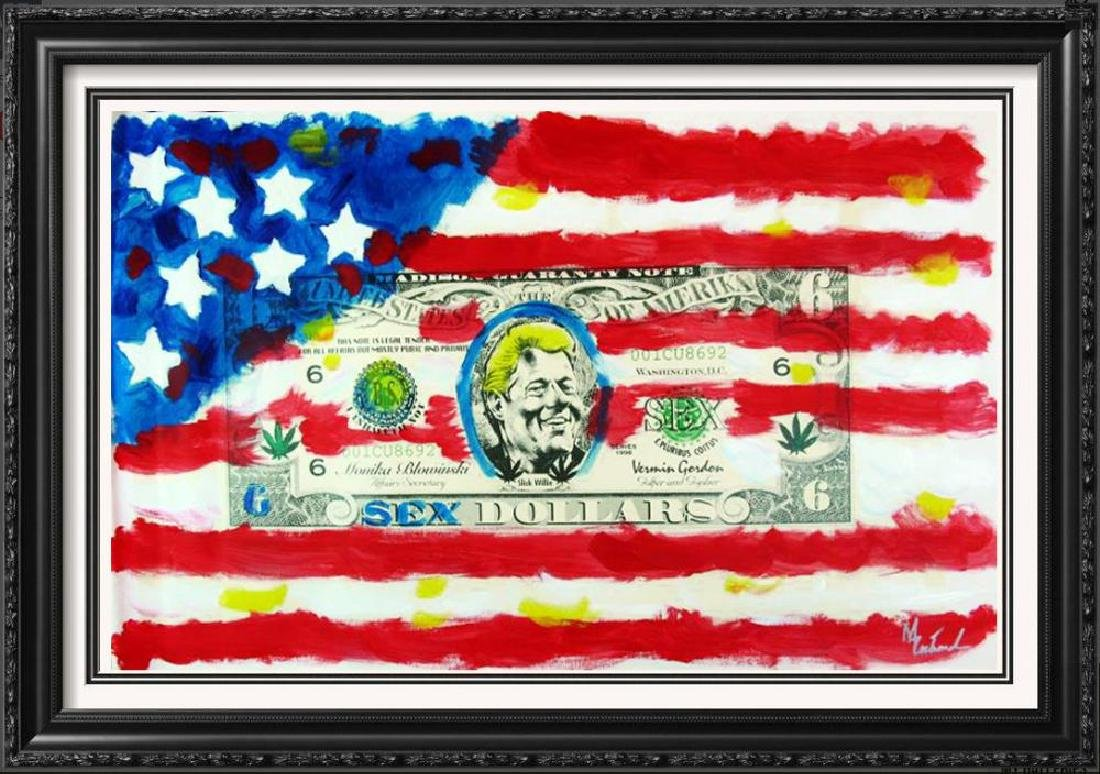 US Flag with Bill Clinton Original Over paint Signed